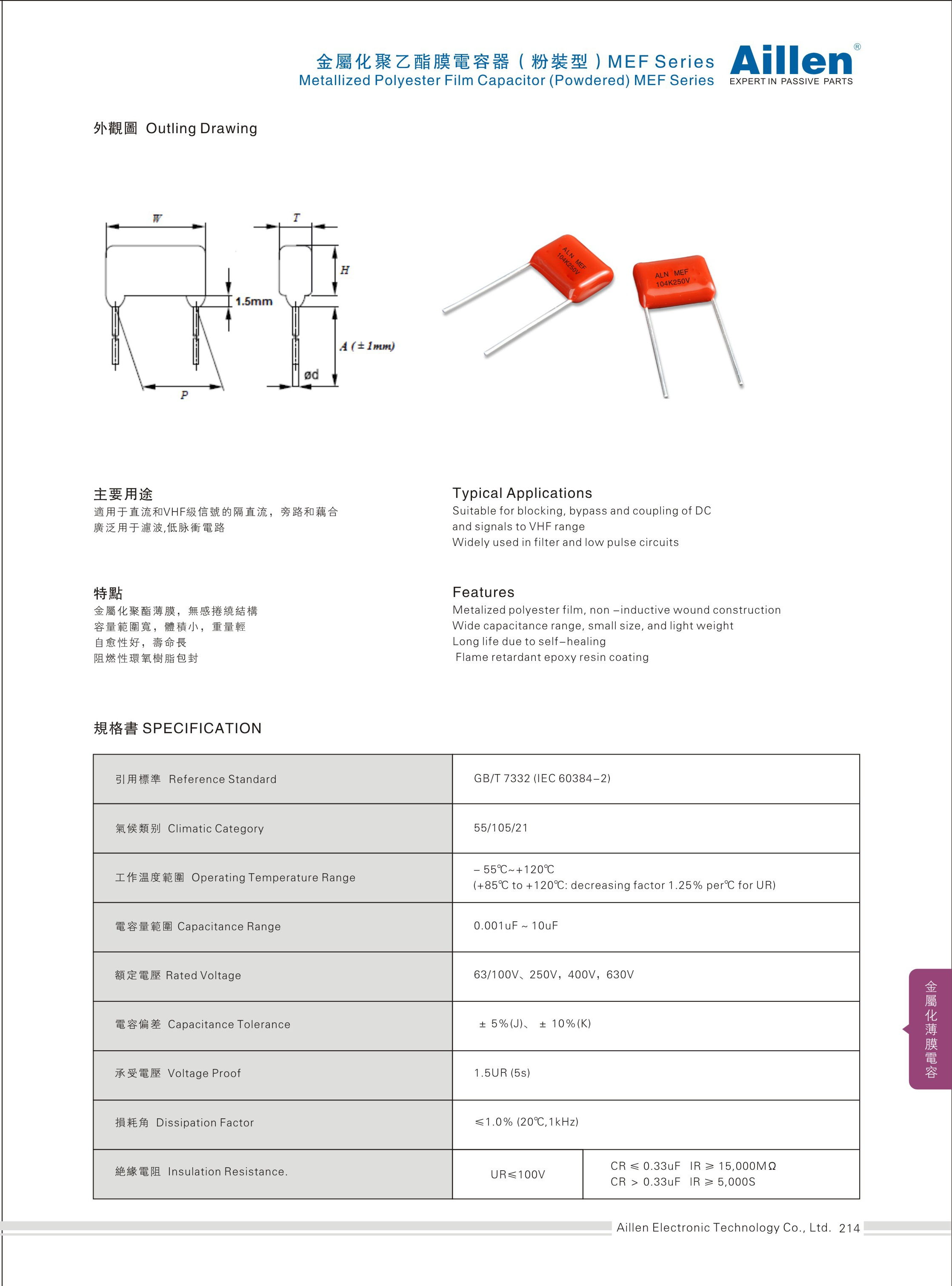 Metallized polyester film capacitor(Powdered) MEF series